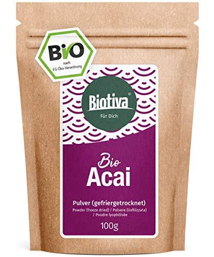 Acai Bio Pulver (100g) gefriergetrocknet - freeze dried - Fruchtfleisch - Brasilien - Euterpe Precatoria - Abgefüllt in Deutschland (DE-ÖKO-005)