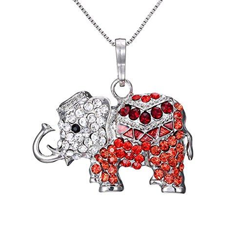 fablcrew Halskette für Damen Anhänger Damen Halskette Elefant Halskette Anhänger Liebespuppe 35cm+8cm rot