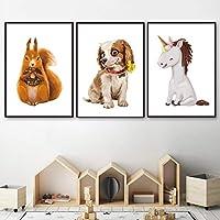 リス犬ユニコーン北欧のポスターとプリント3ピース壁アートキャンバス絵画動物の壁の写真リビングルームの寝室の家の装飾フレームなし50x70cm * 3