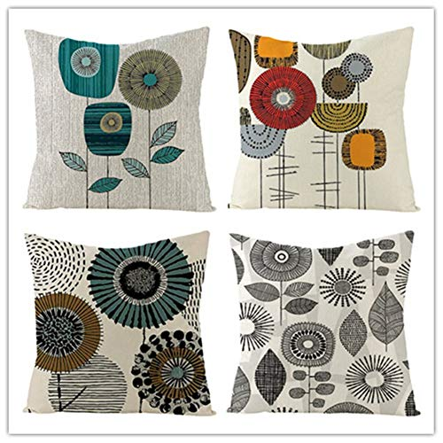 Set of 4 Cushion Cover Throw Pillow Covers Cartoon Flower Square Cotton Linen Double Sided Cushion Covers with Invisible Zipper for Sofa Bedroom Home Decor Throw Pillowcases Pillowcase,45x45cm Y3098