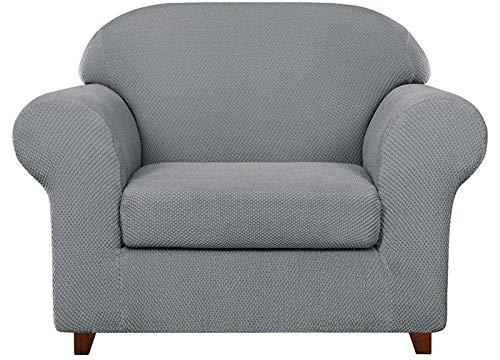 JIAYOUFC Velvet Plush Sofa Slipcovers 2-Piece Granule Jacquard Sofa Slipcover High Stretch Spandex Armchair Cover Fashion Furniture Protector, Reusable Elastic Cushion Coat (Light Grey,1 Seater/Cha