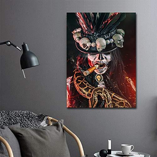 Geiqianjiumai kunst canvas Halloween afbeelding roker baron poster muurkunst op canvas modern huishoudtextiel afdrukken zonder lijst