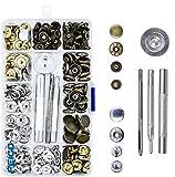 FEIGO 52 Set de corchetes metal artesanía de kit snap botón para reparar chaqueta de 12.5mm snaps botones de presión con 3 Herramientas de Instalación Corchetes de Presión (A)