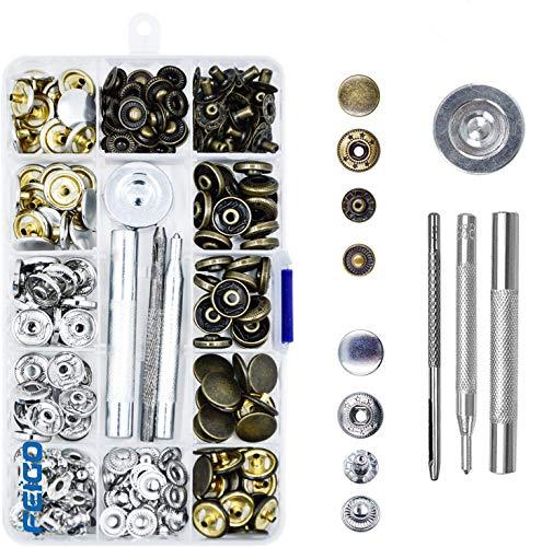 FEIGO drukknopen metaal 52 set klinknagels knopen geen naaimachines leer drukknopen met bevestigingsgereedschap voor doe-het-zelf, stof, jassen, jeans, tassen, riemen (15mm)