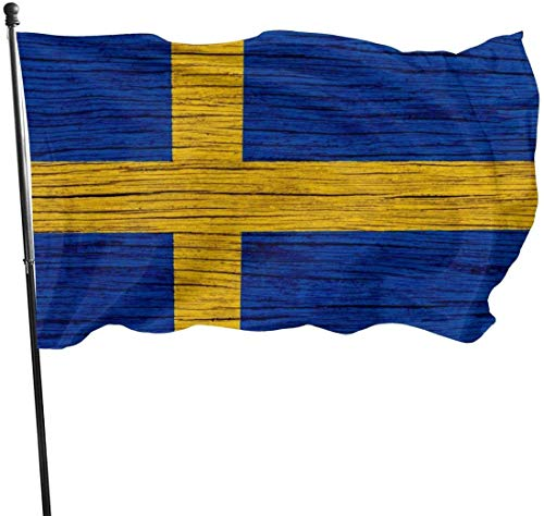 jhin Bandera Decorativa Banderas Sweden Wooden Texture Swedish Flag Themed Welcome Party Outdoor Outside Decorations Ornament Picks Home Garden Decor 3 X 5 Ft