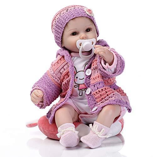 LFFDOLL Handgemachte weicher Silikon-Newborn Puppen Naturgetreue Reborn Baby Doll künstliche Gummipuppe Accompany Schlafpuppe Geburtstags-Geschenke für Kinder Mädchen Jungen