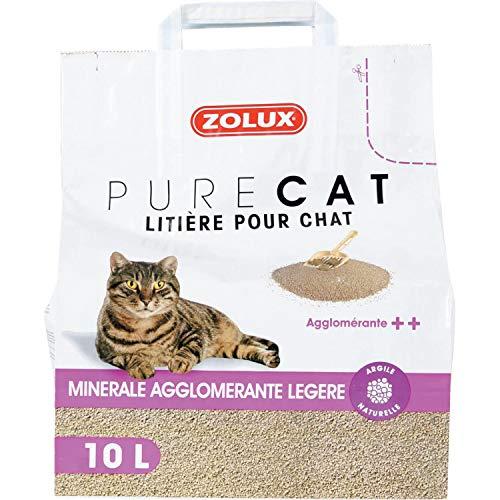 Zolux Litière pour Chat Pure Cat minérale agglomérante ++ légère 10 L