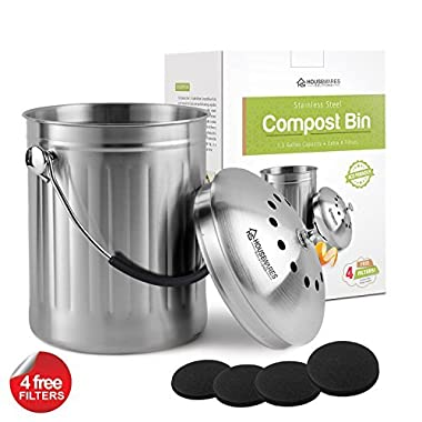 Housewares Solutions Top Quality Leak Proof Stainless Steel Compost Bin 1.3 Gallon – Includes 4 Extra Free Filters