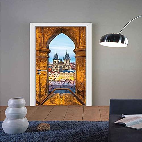 BARFPY 3D Etiqueta de Puerta Paisaje del puente de la ciudad para la puerta de renovación del arte mural de puerta vinilo calcomanía impermeable pared de la sala de estar Cocina dormitorio pegatina 77