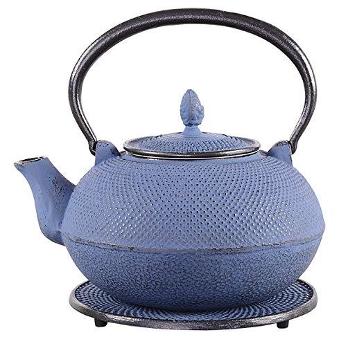 tea4chill Gusseisen Teekanne Arare 1,8l japanblau mit Edelstahlsieb und Untersetzer