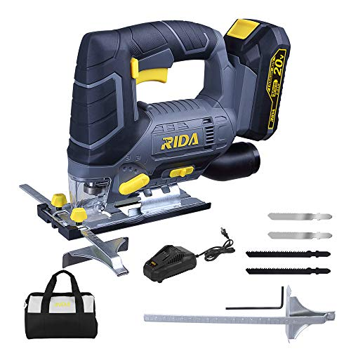 Jigsaw, RIDA 20V Cordless Jigsaw with LED light, 4 Blades, 2000mAh Lithium-ion Battery and 1H Fast Charger, 0-2700SPM Adjustable Speed, 4 Orbital, -45°~45° Bevel Cutting, Aluminum Baseplate
