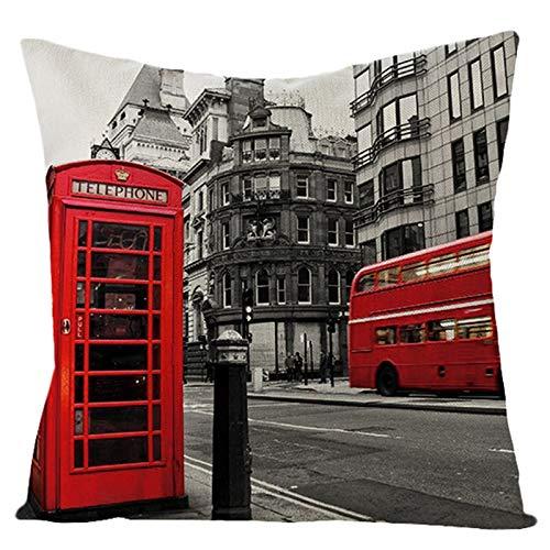AtHomeShop Funda de cojín de lino con diseño de cabina telefónica, autobús y edificios, 50 x 50 cm, suave, cuadrada, para decoración del salón, color rojo y gris