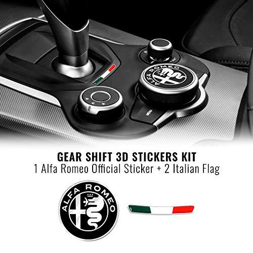 Quattroerre Kit Adesivo Alfa Romeo Logo 51 mm + Bandiera per Interno Giulia Stelvio