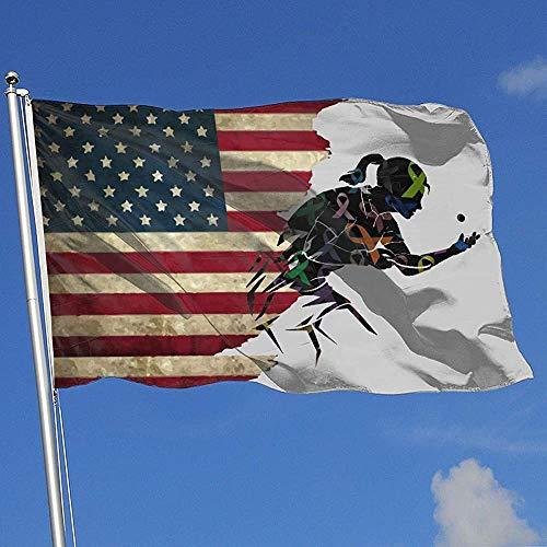 Elaine-Shop Banderas al Aire Libre Bandera de EE. UU. Conciencia del cáncer Tenis de Mesa 4 * 6 pies Bandera para decoración del hogar Fanático de los Deportes Fútbol Baloncesto Béisbol Hockey