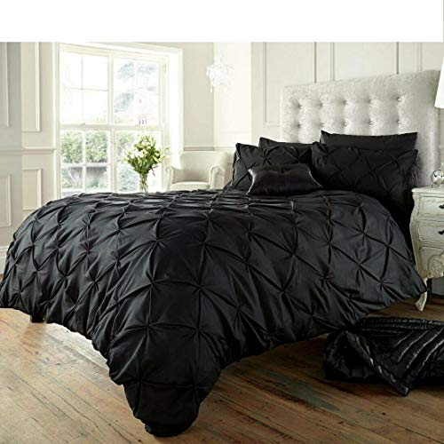 RAYYANLINEN 3PCs PINTUCK PLEATED DUVET COVER BEDDING SET WITH PILLOWCASES (Black, KING)