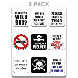 9 pack of funny welding stickers
