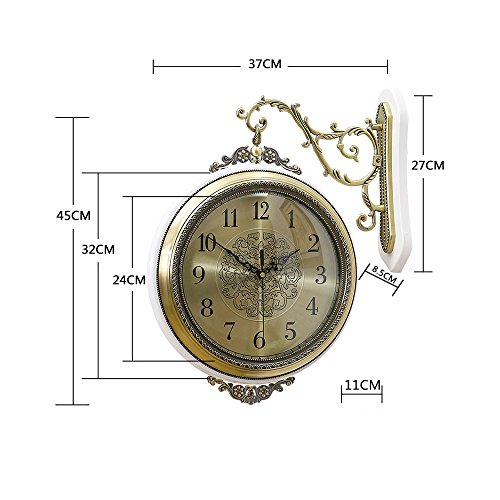 """WENHSIN 16"""" European Luxury Classical 360° Wall Clock Antique Design Ultra Mute Quartz Soild Wood Alloy Double Sides Clock for Living Room Clock Art Deco (Red Wooden frame) steampunk buy now online"""