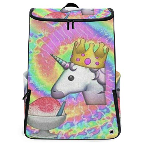 SLHFPX Travel Backpack Unicorn Eat Ice Cream College Backpack for Men Big Hunting Bag