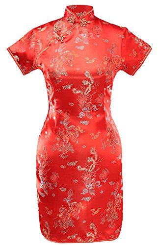 7Fairy Women's VTG Red Dragon Mini Chinese Wedding Dress Cheongsam Size 6 US