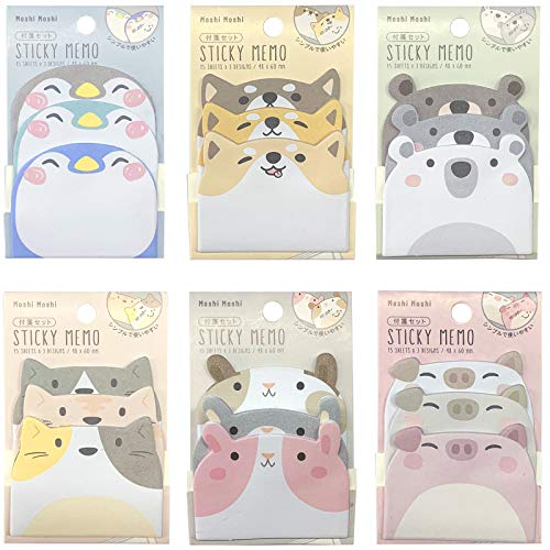 Cartoon Animal Sticky Notes, 6 Pack Cute Cartoon Self-Stick Memo Note Sets for Home, School and Office