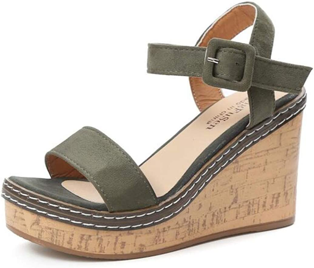 ChyJoey Women's Platform Wedge Sandals Single Band Open Toe Ankle Strap Casual High Heel Chunky Sandal
