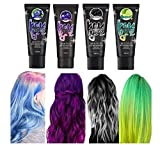 2020 Newest Magical Thermochromic Color Changing Wonder Hair Dyes, 50ML Temporary DIY Hair Coloring Dye, Thermo-Sensing Shade-Shifting Effect Hair Dyes for Carnival Party Birthday, 4 Color Set