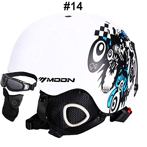 LWLJCFFF Skihelm Atmungsaktiver Ultraleichter Skihelm 28 Farben CE Zertifizierung Snowboard/Skateboard Helm, 14 White Crazy Night, XL (61-64cm)