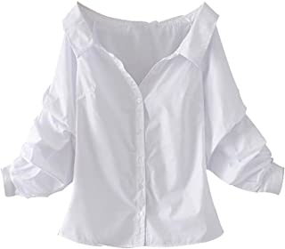 white off the shoulder button down shirt