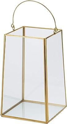 東京堂 ガラス花器 黄/金 縦横 約13×高さ 約22cm、全高 約29cm(取っ手含む) アンティークガラストラぺL GG000346