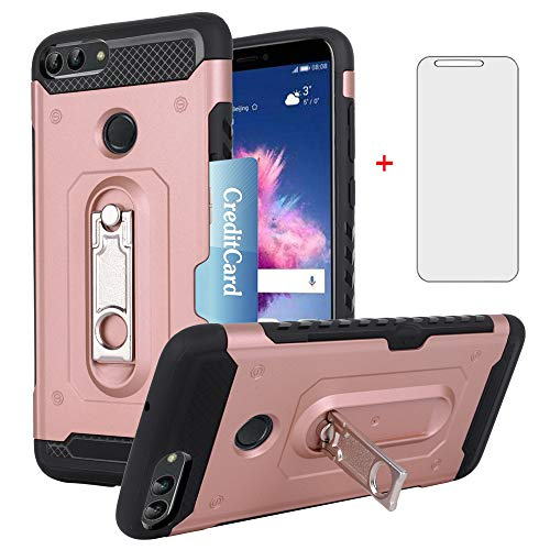 Phone Case for Huawei P Smart 2018 with Tempered Glass Screen Protector Cover and Credit Card Holder Hard Wallet Stand Kickstand Accessories Huwai Hawaii Hwauei Enjoy 7S Psmart Cases Girls Women Pink