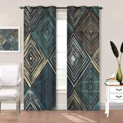 painting-home Window Curtain Geometric, Retro Rhombus Pattern Noise Reducing Thermal Window Drapes Thermal Insulated Energy Saving W84 x L72 Inch