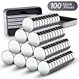 100 Mini Neodym Magnete 8 x 3 mm GRATIS Box | extra starke Mini Magnete für Whiteboard -...