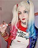 Peluca sintética RainaHair de cuerpo largo y ondulado, color rosa, mitad azul, peluca hecha a mano con encaje frontal, peluca de cosplay Harley Quinn, 24 pulgadas