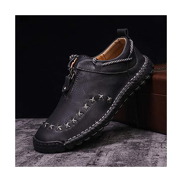 Pumoes Mens Casual Shoes Loafers Flat Shoes Vintage Hand Stitching Zipper Soft Leather Oxford Shoes Casual Slip-on Walking Shoes Lace up Breathable Driving Boat Shoes