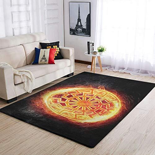 STELULI Black sun Viking Mitología Nórdica Schwarze Sonne Alfombra fresca linda tela – Alfombra de dormitorio para decoración de interiores blanca 91x152cm