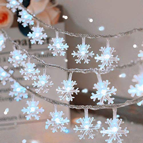 Christmas Snowflake String Lights, 20ft 40 LED Fairy Lights Battery Operated Waterproof Twinkle Lighting Indoor Outdoor Decorations for Bedroom Party Patio Room Garden Home Xmas Tree Decor(White)