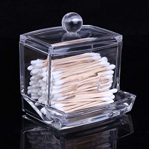 caxmtu claro acrílico bastoncillos organizador caja de almacenamiento de maquillaje cosméticos titular