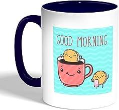 good morning Printed Coffee Mug, Blue Color