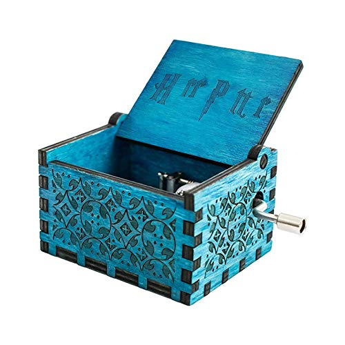 VETIN Caja de música de madera con manivela, caja de música antigua tallada para cumpleaños, Navidad, día de San Valentín y para niños, esposa, amigos, color azul