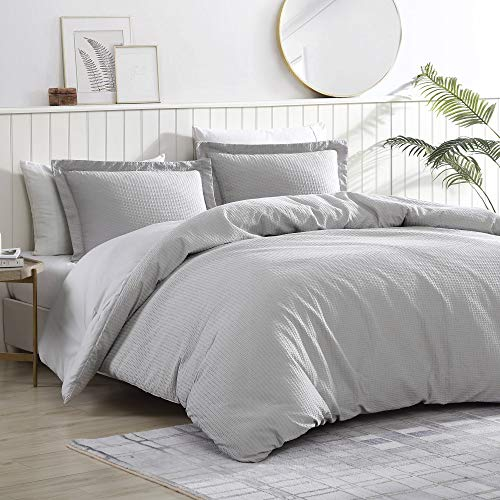 Brielle Pierce Solid 100% Cotton Soft Waffle Textured Comforter Set, Light Grey, King