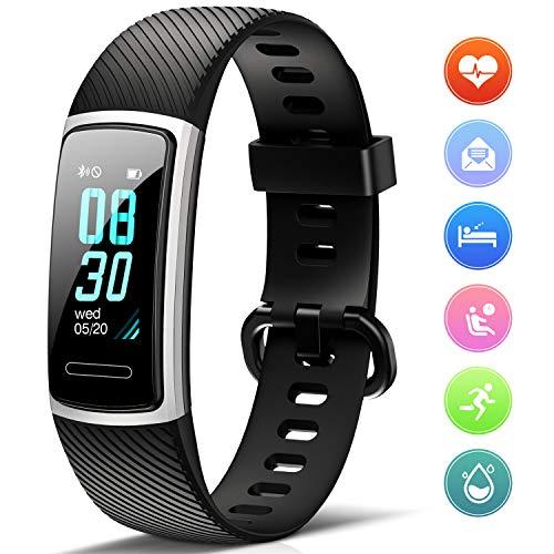 FITFORT Fitness Armband mit Pulsmesser- IP68 Wasserdicht Fitness Tracker Smartwatch, schrittzähler, Schlafüberwachung,Sitzende Erinnerung Aktivitätstracker,Damen Herren Anruf SMS SNS Beachten