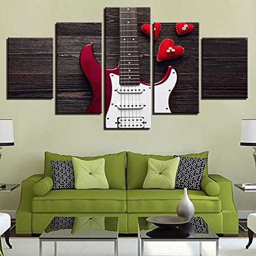 Living Equipment Moderno 5 Paneles Arte de la pared Decoración Instrumento musical Guitarra Forma de corazón rojo Lienzo Pintura Dormitorio Paisaje Impresiones Imágenes para el hogar Sala de estar
