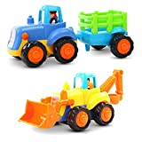 Early Education 1 Year Olds Baby Toy Push and Go Friction Powered Car Toys Sets of 2 Tractor, Bulldozer for Children & Kids Boys and Girls by EastSun