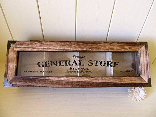 Caja joyero y almacenamiento de madera estilo rústico chic con 4 compartimentos, tapa de cristal, para regalo