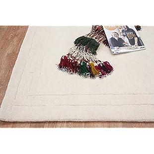 Lippa Plain Carved Sculptured Indian 100% Wool Handmade Oriental Traditional White Rug:Cartoonhd
