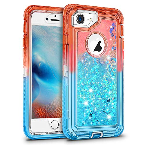 MAXCURY Gradient Quicksand Series Case for iPhone 8 Plus & 7 Plus & 6 Plus & 6s Plus (Not for 8 7 6 6S Heavy Duty Shockproof Flowing Liquid Glitter Case for Grils (Coral/Blue)