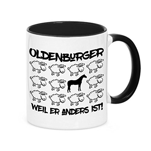 Tasse BLACK SHEEP - OLDENBURGER - Pferde Pferd Fun Schaf Kaffeebecher Siviwonder