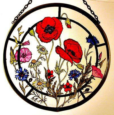 Celtic Glass Designs Dekorativer handbemalter Sonnenfänger, Glasmalerei, Motiv Kornfeld