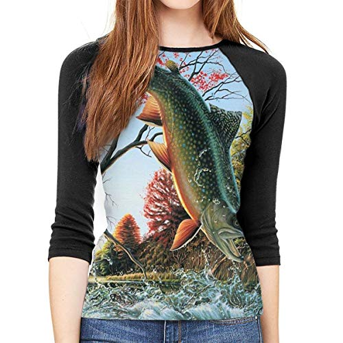Henrnt Damen Bluse 3/4 Arm T-Shirt Bluse Top Safflower Flying Fish Print T-Shirt Casual Crew Neck Tops Tee