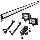 YITAMOTOR 52' inch 300W Combo+ 2X 18W Spot LED Light Bar + Mounting Brackets+Wiring for JEEP JK...